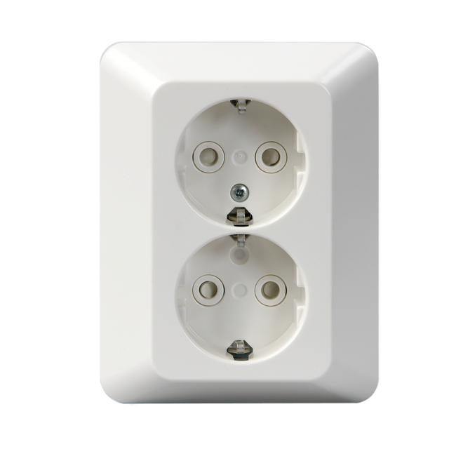 2 gang socket outlet schuko cover plate screwless terminals product card
